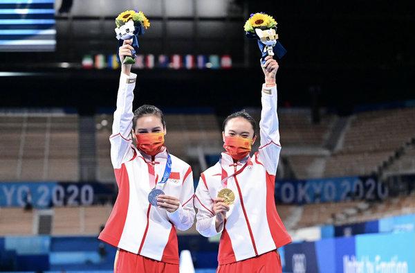 东京奥运会:朱雪莹、刘灵玲包揽蹦床体操女子组冠、亚军