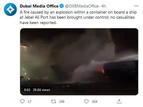 迪拜政府媒体办公室在社交媒体上证实,一艘停泊在杰贝阿里港的船只上的一个集装箱发生爆炸。